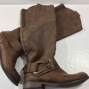 Mossimo brown vegan leather tall moto boots 7.5
